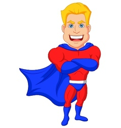 Superhero cartoon posing vector