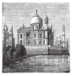 Taj Mahal India Old engraved vector image