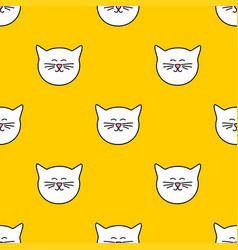 tile pattern with cats on yellow background vector image