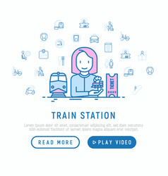 Train station concept with thin line icons vector