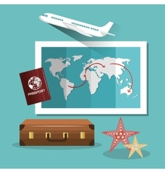 Travel suitcase passport map and airplane design vector