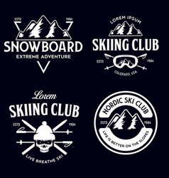 Vintage ski or winter sports logos badges vector