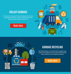 Waste treatment horizontal banners vector