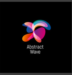 wavy abstract logo smooth gradients and vector image