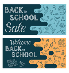 welcome back to school and sale horizontal flyer vector image