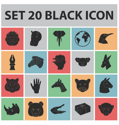 wild animal black icons in set collection for vector image