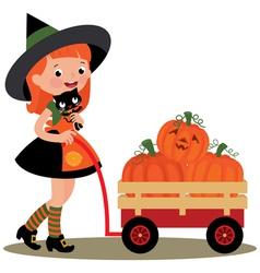 Witch Halloween carries a wheelbarrow full of pump vector