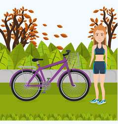 woman with bicycle in the landscape vector image