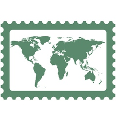 World map on stamp vector image