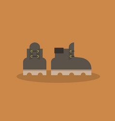 a pair of leather brown boots icon flat vector image