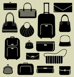 Bags suitcases icons set vector image