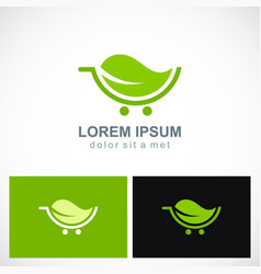 green leaf organic cart logo vector image