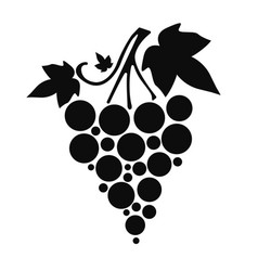 icon silhouette of grapes with leaves on white vector image