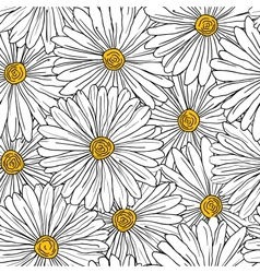 Seamless floral background with camomiles vector image