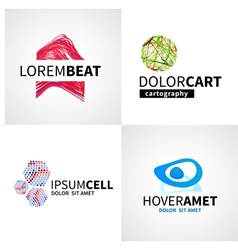 Set of modern colorful abstract music cell logo vector image vector image