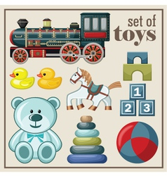 Set of vintage toys vector image vector image