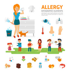 allergy infographic elements flat design vector image vector image