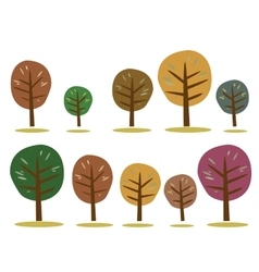Autumn trees icons isolated on white vector image vector image