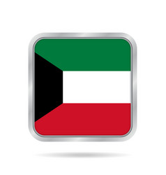 flag of kuwait shiny metallic gray square button vector image