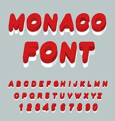 Monaco font Monaco flag on letters National vector image