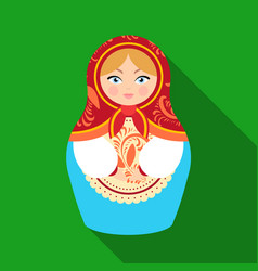 russian matrioshka icon in flat style isolated on vector image