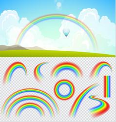 Set of transparent realistic rainbows vector image