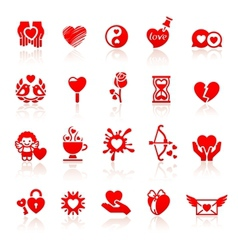 Set valentines day red icons vector image vector image