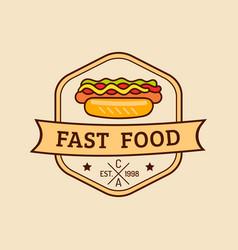 vintage fast food logo retro hand drawn vector image
