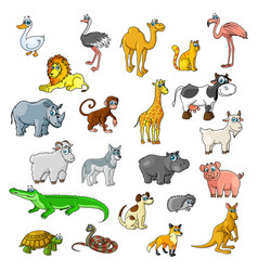 zoo animals birds and pets cartoon icons vector image