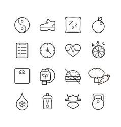 black thin line health icons set vector image