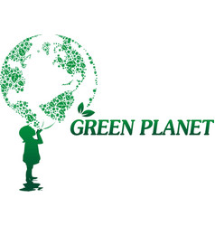 girl and green planet of flowers vector image vector image