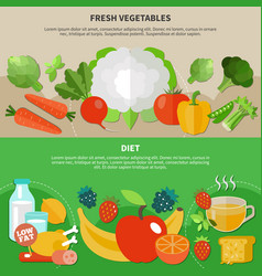 healthy eating flat composition set vector image