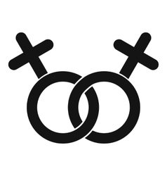 Lesbian love sign icon simple style vector