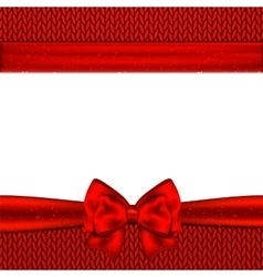 Red bow on red knitted background Design vector image