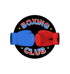 boxing emblem gred and blue loves logo for sports vector image vector image