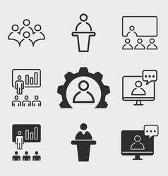 conference icons set vector image vector image