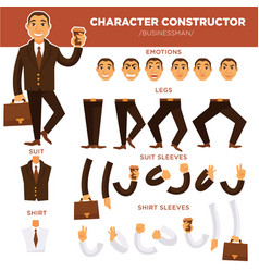 man character constructor businessman face suit vector image vector image