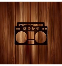 Retro tape recorderWooden background vector image