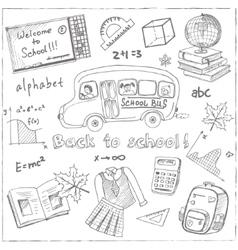 Set of school drawings on chalkboard Sketches vector image vector image