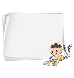 A bondpaper with a boy vector image