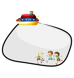 An empty template with a ship and kids playing vector