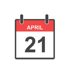 april 21 calendar icon in flat style vector image
