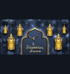 Arabic card for ramadan kareem golden lanterns vector