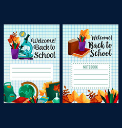 Back to school notebook cover design vector