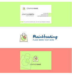 beautiful shopping bag logo and business card vector image