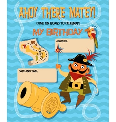 Birthday card with a cartoon pirate vector image vector image