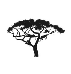 Black silhouette african tree with lions vector