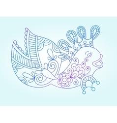 blue line drawing of sea monster underwater vector image