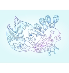 blue line drawing sea monster underwater vector image