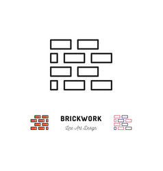 Brickwork icon building sign brick laying thin vector